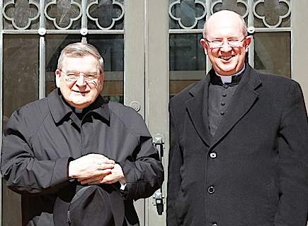 Cardinal Burke and Fr Glen Tattersall outside Newman Parish Church, Caulfield (photo: Newman Parish website).